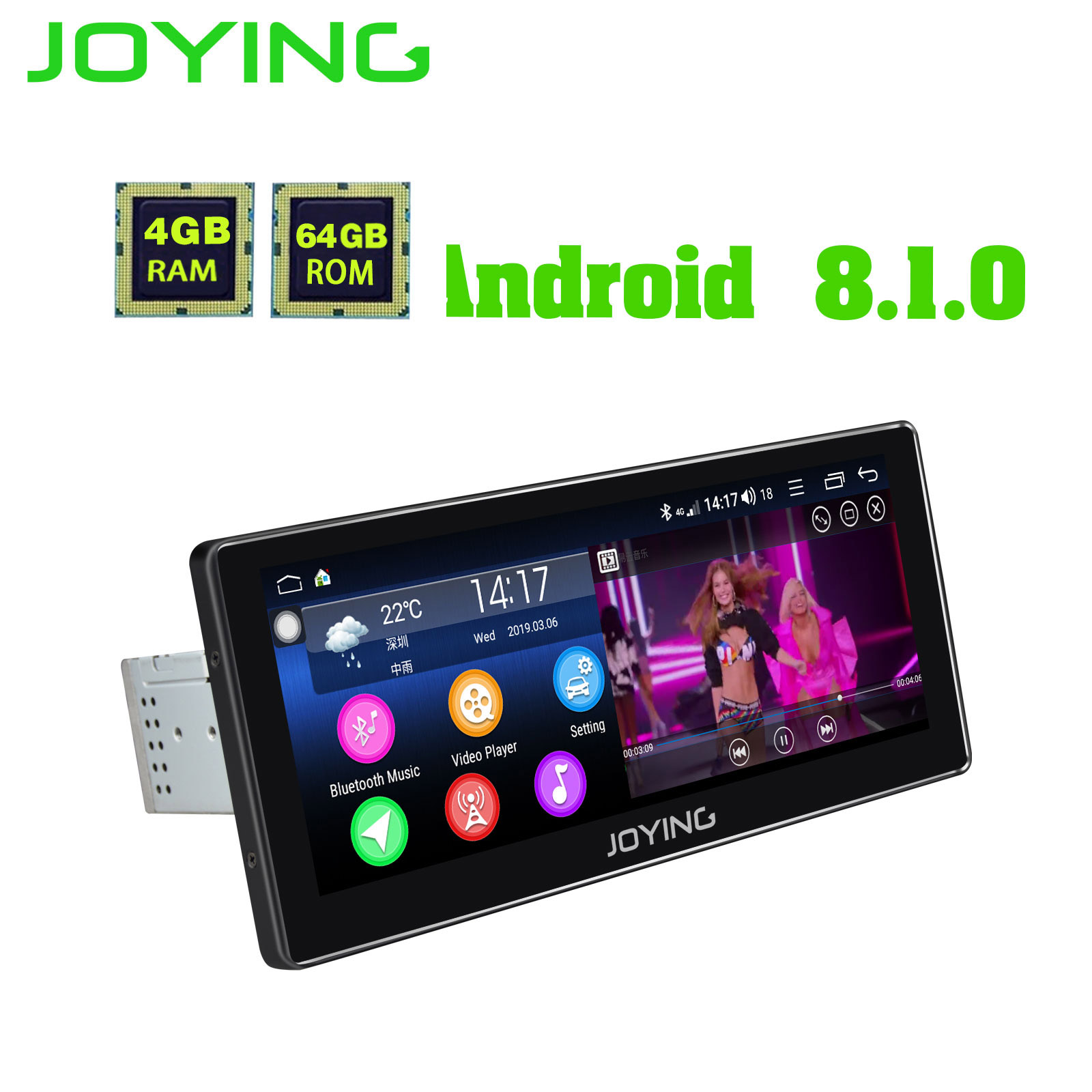 Android 8.1 single din car radio player GPS receiver 10.25 inch HD Screen 4GB RAM 64GB ROM stereo autoradio Support 4G Octa Core image