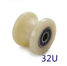 купить 4PCS/LOT  Wheel D:32mm  (1.2inch)U Groove Nylon Mute Sliding Door Pulley Door Bearing Steel Rail Wheels онлайн