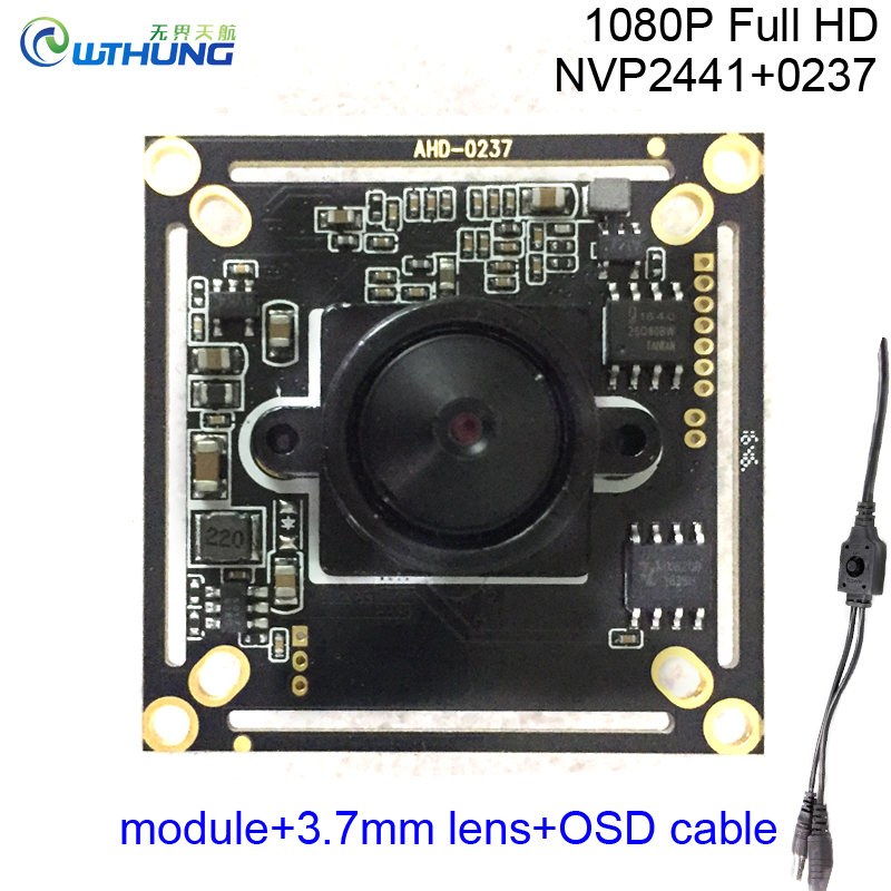 CCTV Mini Camera Module 1080P 2.0MP 4 in 1 AHD-H/CVI/TVI/CVBS 0237+NVP2441 1/2.8''CMOS Sensor +OSD cable+HD 3.7mm pinhole lens ahd 2 0megapixel cctv camera module pcb low illumination 0 001lux osd cable dc12v cvbs 2000tvl 3d noise reduction
