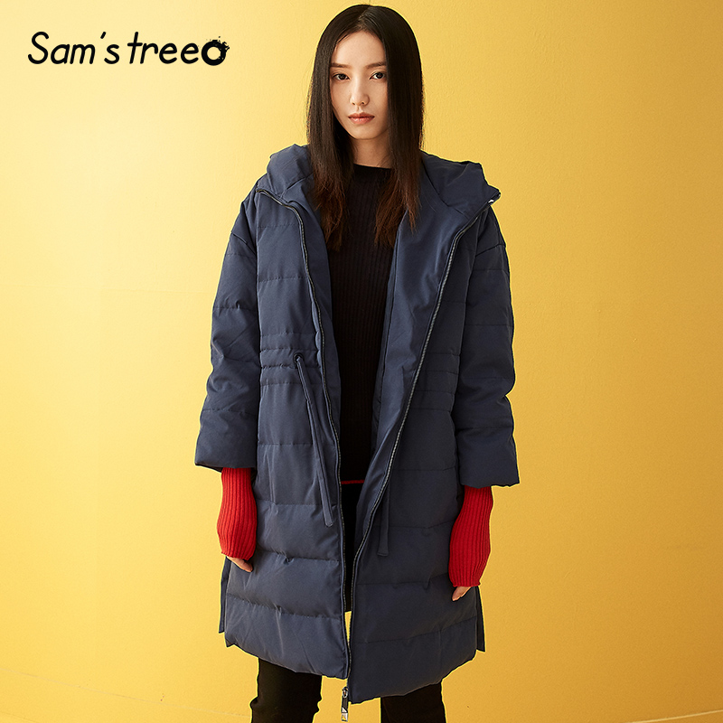 Samtree Solid Winter Women Long Thick   Down     Coats   Hooded Elastic Waist Drawstring   Down   Snow   Coats   Side Side Slit Female Parka