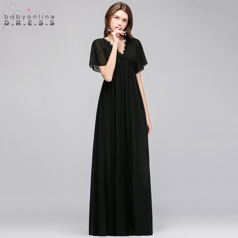 Babyonline Черный шифон кружево Длинные вечерние платья 2019 V образным вырезом официальная вечеринка для беременных женщин vestido de festa