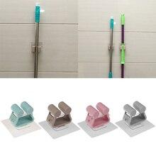 Прочный 4 цвета настенный держатель для швабры щетка метла вешалка для хранения шкаф-органайзер для кухни крючки и рельсы для дома и кухни инструменты