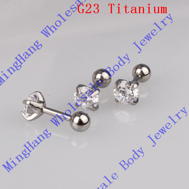 G23 Titanium CZ EAR CARTILAGE BODY PIERCING TRAGUS HELIX STUD RING EARRING BARBELL