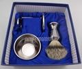 Stainless Handle Silvertip Badger Hair Shaving Brush & Stand &Bowl &Gift Box