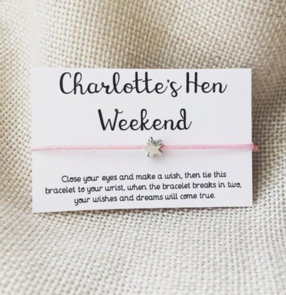 Unique Hen Night Party Gifts Favours Pink Blue Black Red 50 x Wish Bracelets