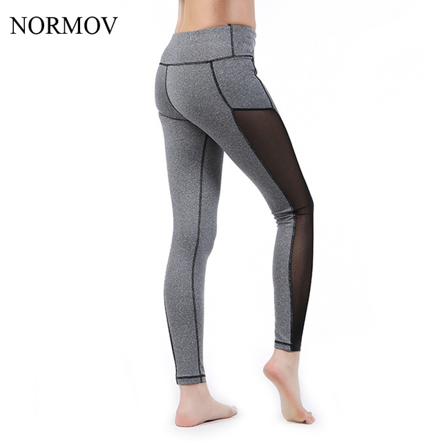 NORMOV S-XXL Workout Mesh Push Up Leggings Women Adventure Time Soft Gray Legging Stretch Sexy Breathable High Waist Leggns