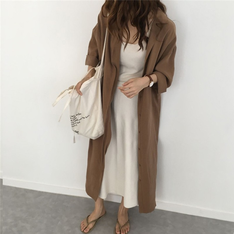 Long Sleeve Wild Long Trench For Women Solid Color Turn-down Collar Trench Sun Protection Single Breasted Coat