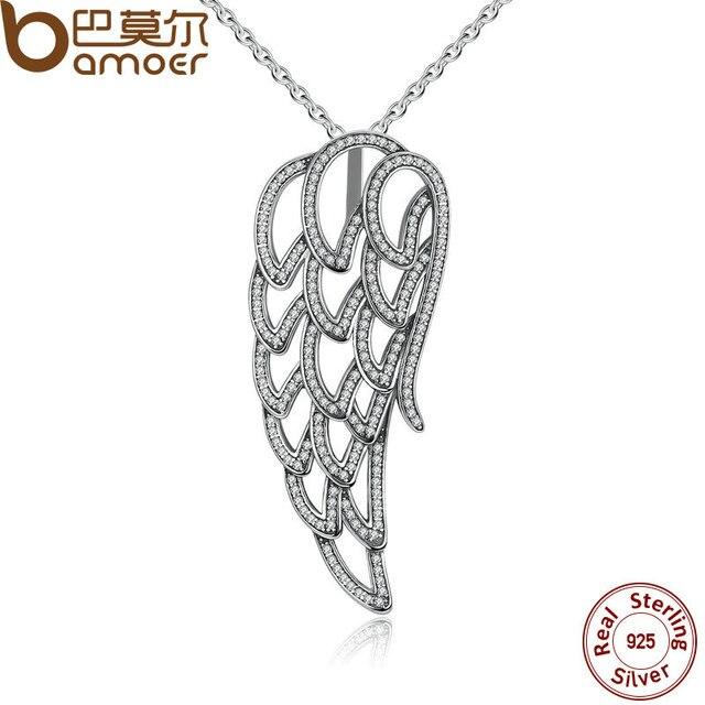 BAMOER Новое Прибытие 925 Sterling Silver Angel Wing, ясно CZ Ожерелья и Подвески Для Женщин Ювелирных Украшений Ожерелье PSN006