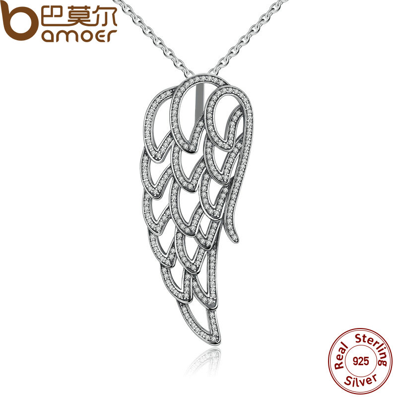 BAMOER New Arrival 925 Sterling Silver Angel Wing Clear CZ Necklaces Pendants For Women Fine Jewelry