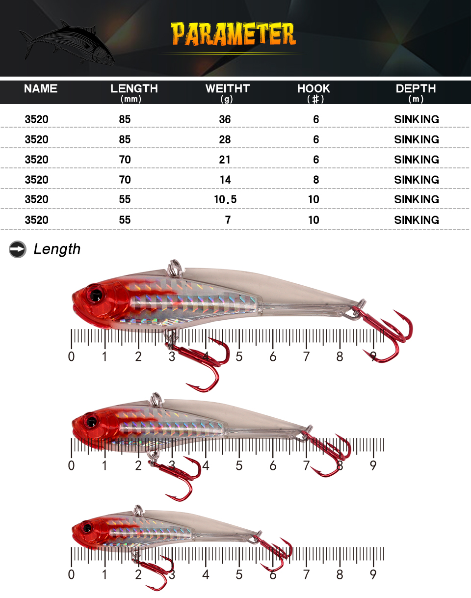 Kingdom fishing lure VIB Hook Fishing Sinking 1Pcs 7g 10.5g 14g 21g 28g 36g Wobblers Lures Pencil Artificial Baits model 3520 7