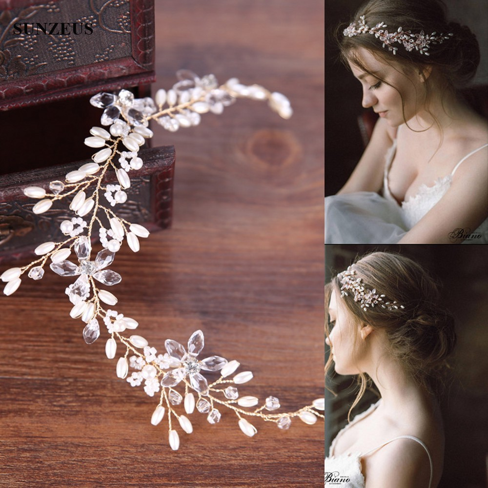 White Pearls Gold Headband Hand-made Bridal Hair Sash Wedding Party Head Accessories SQ0159