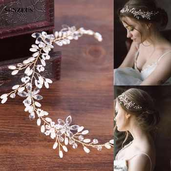 White Pearls Gold Headband Hand-made Bridal Hair Sash Wedding Party Head Accessories SQ0159 - DISCOUNT ITEM  0 OFF All Category