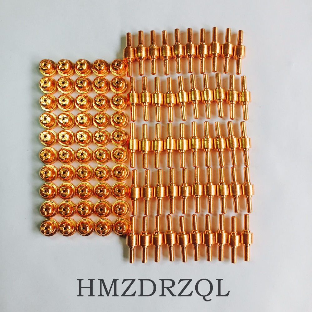 FREE SHIPPING 100Pcs PT-31 Electrode Tip Plasma Cutter Cutting Consumables KIT Plasma Nozzles Fit Cut-40 50D CT-312 PT31 100PK pt 31 lg 40 good godds plasma cutting cutter torch consumables extended nozzle tips fit cut40 cut 50d ct 312 lgk40 cut50 190pk