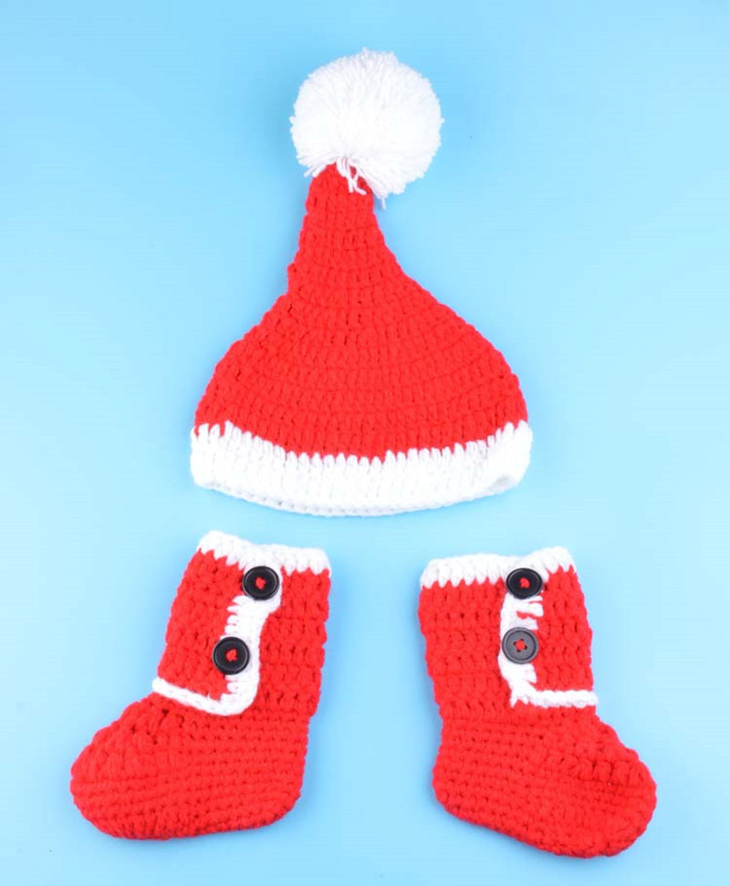 Baby Newborn Christmas Hat with Boots Shoes Santa Claus Style ...