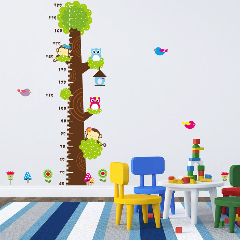 Animals Height Wall Stickers Kids Rooms Wall Decorative Owl Monkey Stickers DIY Home Decor