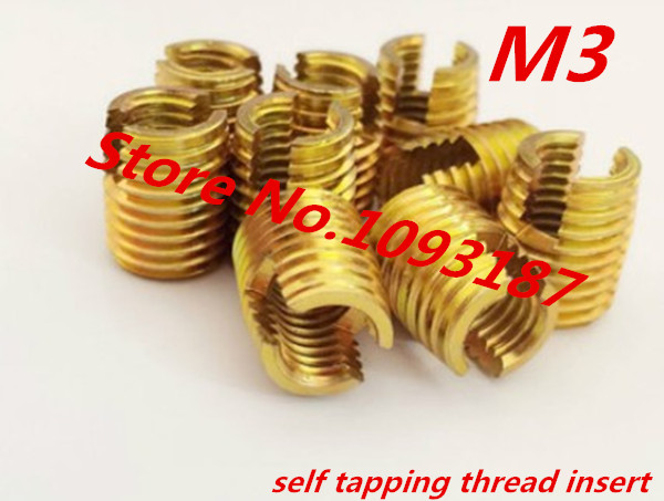 20pcs M3*0.5 M3 Self Tapping Insert/Self Tapping Screw Bushing/Carbon Steel 302 Slotted Type Wire Thread Repair Insert