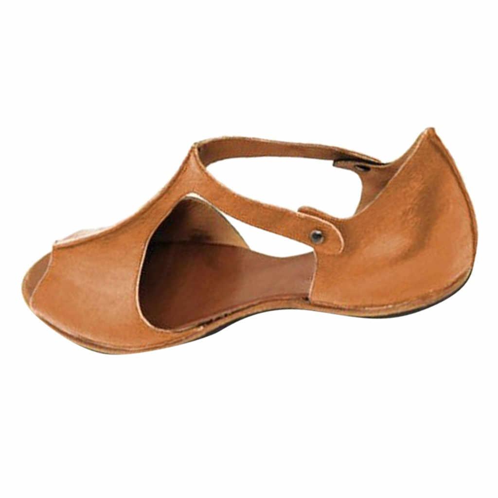 Mode Frauen Sandalen Mode Wohnungen Fisch Mund PU Leder Strand Schuhe Offene spitze Knöchel Boden Römischen Sandalen Sandalia Feminina