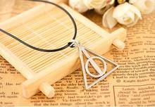 movie jewelry Europe necklace Luna Cinema Harry the Deathly Hallows triangle pendant silver bronze with leather chain charming