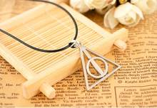 Perhiasan film Cinema Eropa kalung Luna Harry the Deathly Hallows segitiga pendant perak perunggu dengan kulit rantai charming(China)