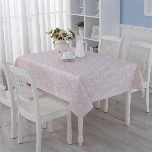 New Plastic Table Cloth Pink Floral Printed Waterproof Oilproof Pvc