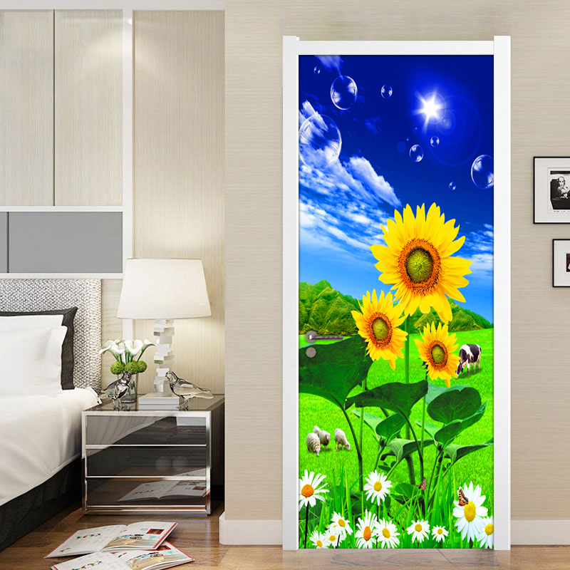 3D Photo Wallpaper Blue Sky White Clouds Sunflower Grassland Scenery Living Room Bedroom Door Sticker PVC Mural Self-adhesive children room blue sky ceiling wallpaper white clouds wallpaper for kids bedroom blue sky and white clouds wallpaper paper roll
