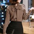 2016 de invierno blusas femininas blusa dot print shirts vintage blusa de la gasa tops manga larga mujeres camiseta blusa