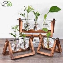 Стеклянная ваза плантатор Террариум стенд декоративный металлический сад свадебный стоящий цветочный горшок дисплей с деревянной подставкой водная плантатор