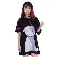 Japanese Harajuku Cool Black Women T-Shirt  Dog Cartoon Printed Loose O-Neck Tops Removable Choker Design Fashion Summer T-Shirt
