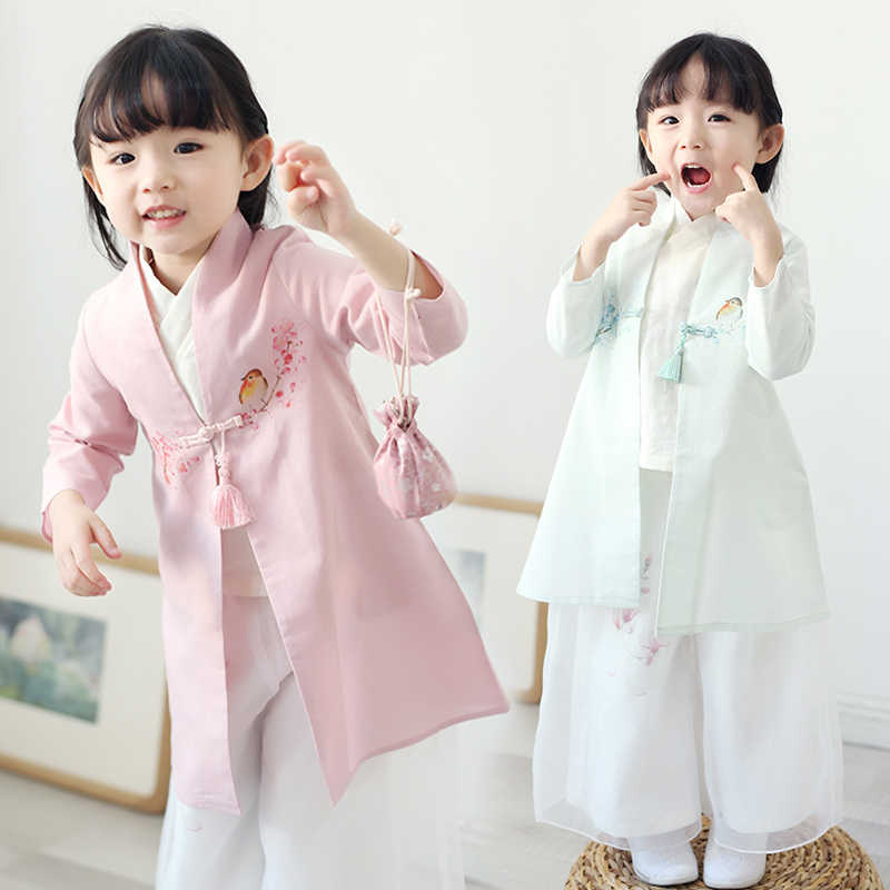 Chinese Style 3 Pieces Tang Suit Clothes Baby Girls Cosplay Hanfu Clothing Traditional Children Stage Performance Costume