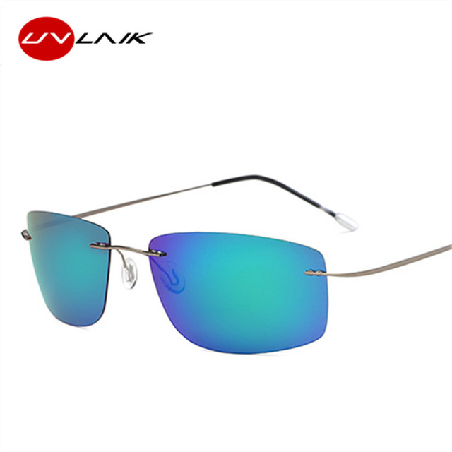 UVLAIK Titanium Rimless Sunglasses Polarized Men Super Thin Frameless Sun Glasses Driving protection UV400 Night Goggles