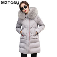 1PC Winter Jacket Women Winter Coats 100 Real Raccoon Fur Collar Thick Hooded Parkas Women Winter