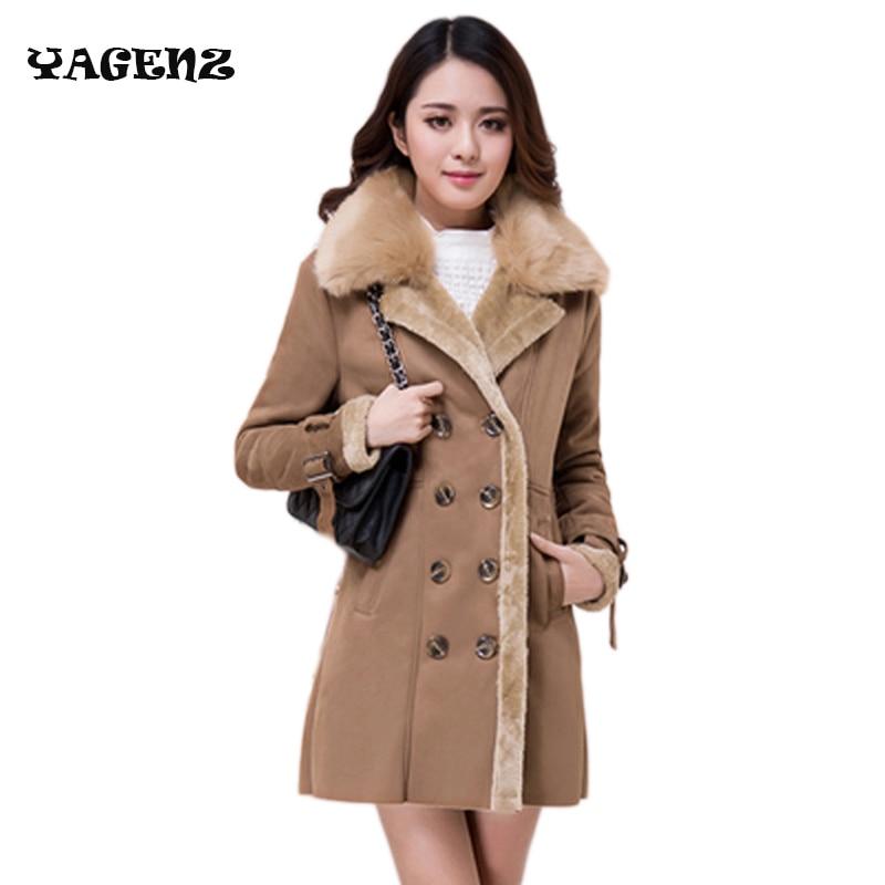 2019 Women Winter New Sheep Leather with Sheep Fur Lining Cuff Fox Fur Collar Outwear lapel long section Sheepskin Overcoat
