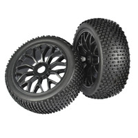 1/8 RC HEX 17mm Plastic Wheel Rim & Buggy Tire for Kyosho Truck Car 4pcs
