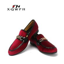 XQWFH Men Velvet Loafers Smoking Slipper Italian Men's Casual Shoes Men Party and Wedding Dress Shoes