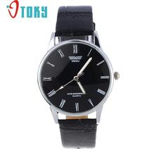 New Luxury Fashion  Classic Men's Roman Number Quartz Electronic Leather Wrist Watch Black novel design Relogios Dropshipping