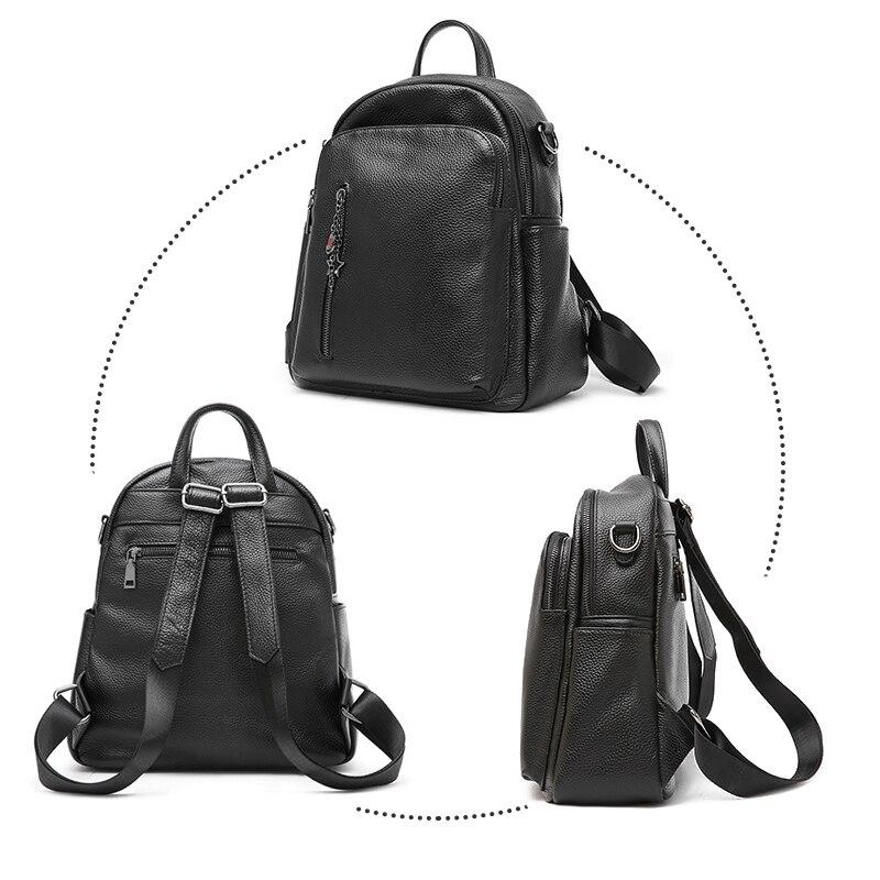 À Capacité Épaule Ordinateur Cuir Véritable Hmily Design Main Portable Voyage Pack Fille Pour Grande Black De Dos Femmes Sac 8I78nBOq
