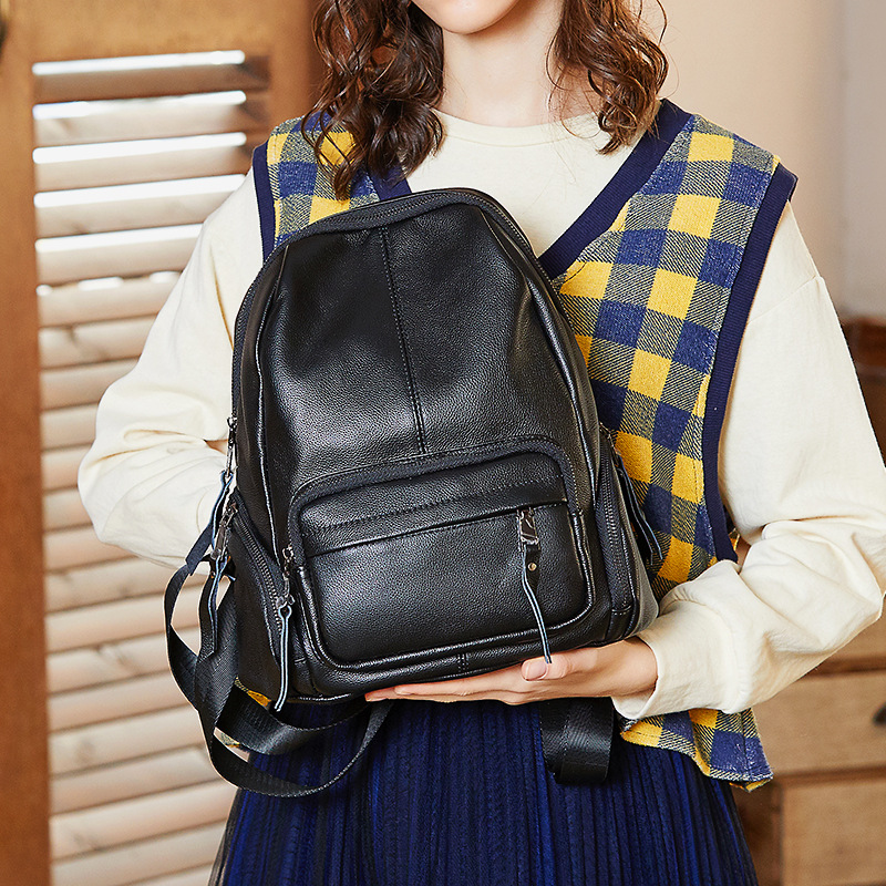Paste Korean Real Leather Backpack Women Cowhide Knapsack Soft Black Top Quality Designer School Bag Mochila Feminina