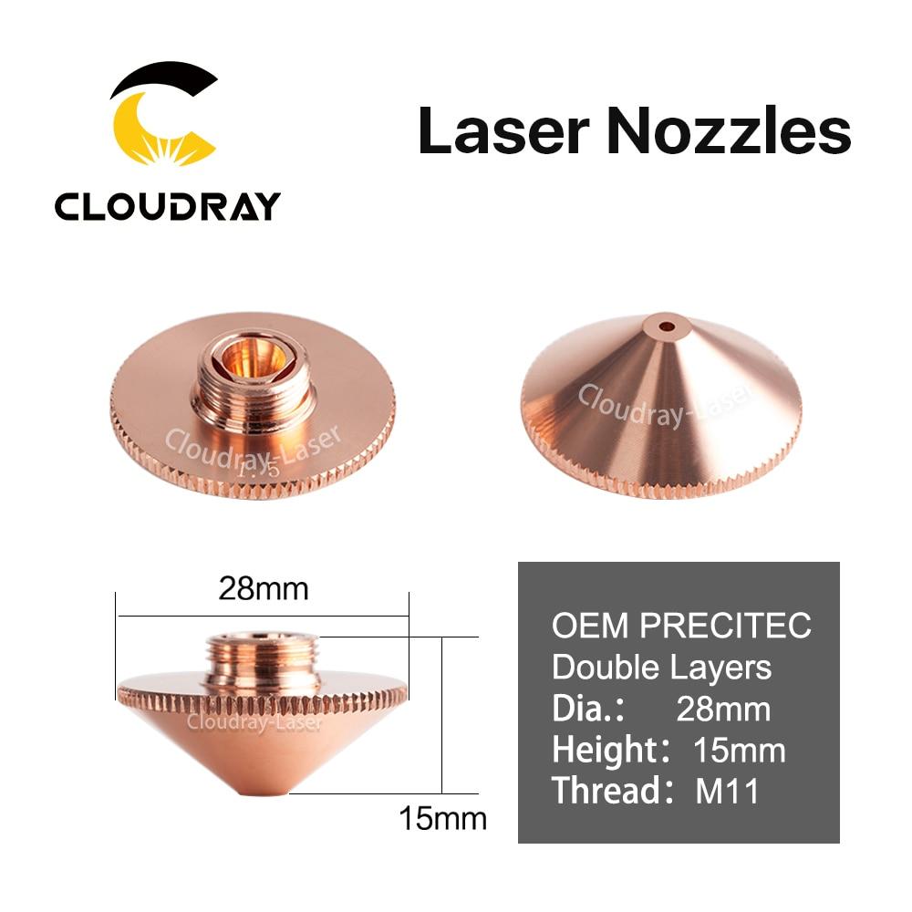 Cloudray Laser Nozzle Double Layers Dia.28mm Caliber 0.8 - 4.0 P0591-571-00001 For Precitec WSX FIBER Laser Cutting Head