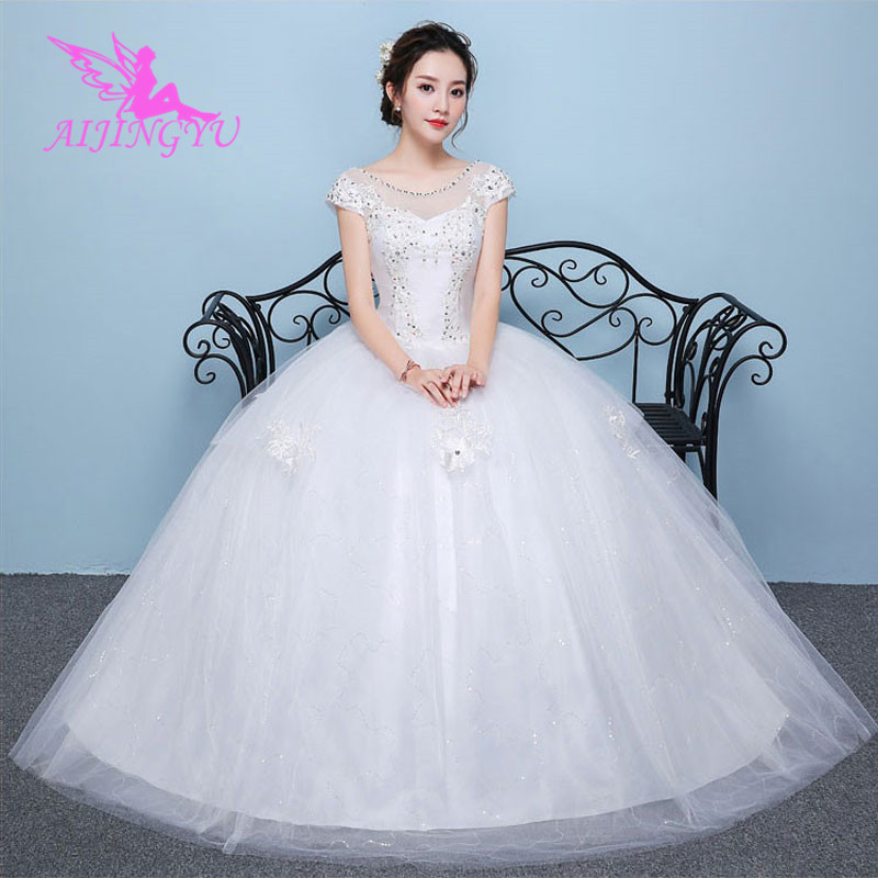 AIJINGYU 2018 plus size free shipping new hot selling cheap ball gown lace up back formal bride dresses wedding dress WK543