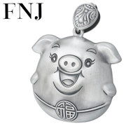 FNJ 925 Silver Pigs Pendant Fashion Cute Animal Hang Original Pure S925 Thai Silver Pendants for Women Jewelry Making