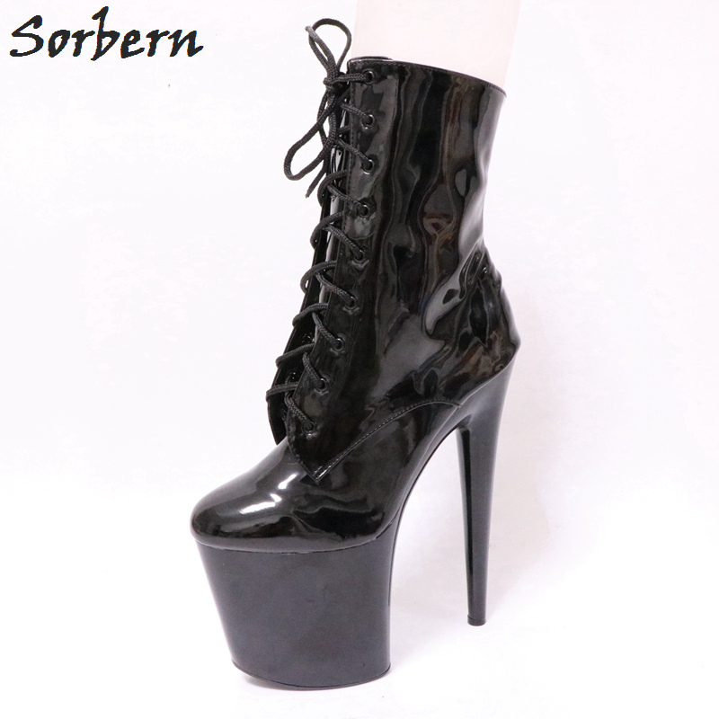 f3202585dd061 Sorbern 20Cm Ultra High Heel Ankle Boots Unisex Pole Dance Crossdressed Heels  Goth Shoes For Women Fall Platform Ankle Boots