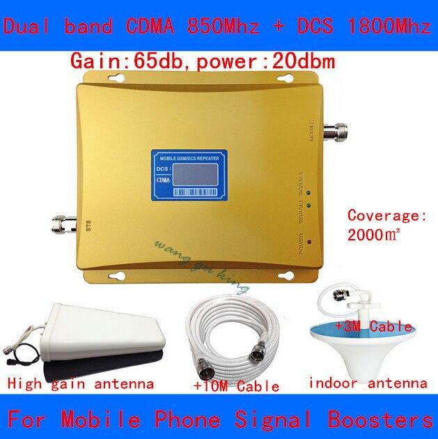 Lintratek! 2016 новый CDMA 850 МГц + DCS 1800 МГц dual band усилитель сигнала gsm репитер 850 1800 полный booster с ЖК-Дисплей