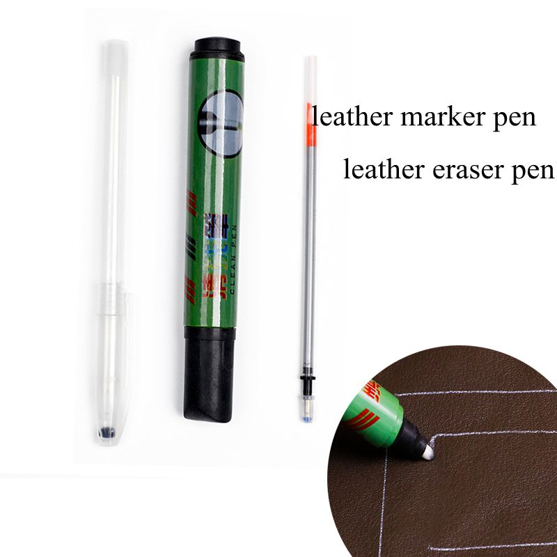 Leather Marker Pen And Eraser Pen Refillable Pen Set For Leathercraft Embroidery Fabric Marker Silver Refill Pen Leather Marking