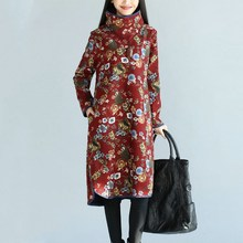 Fashion Retro Turtleneck Thick Velvet Mid Calf Warm Dress Women's Long Sleeve Floral Loose And Casual Plus Size Fall Winter