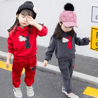 Autumn Winter Velvet Kids Baby Girls Clothes Sets Solid Long Sleeve T shirt Tops + Pants 2PCS Outfit Sets