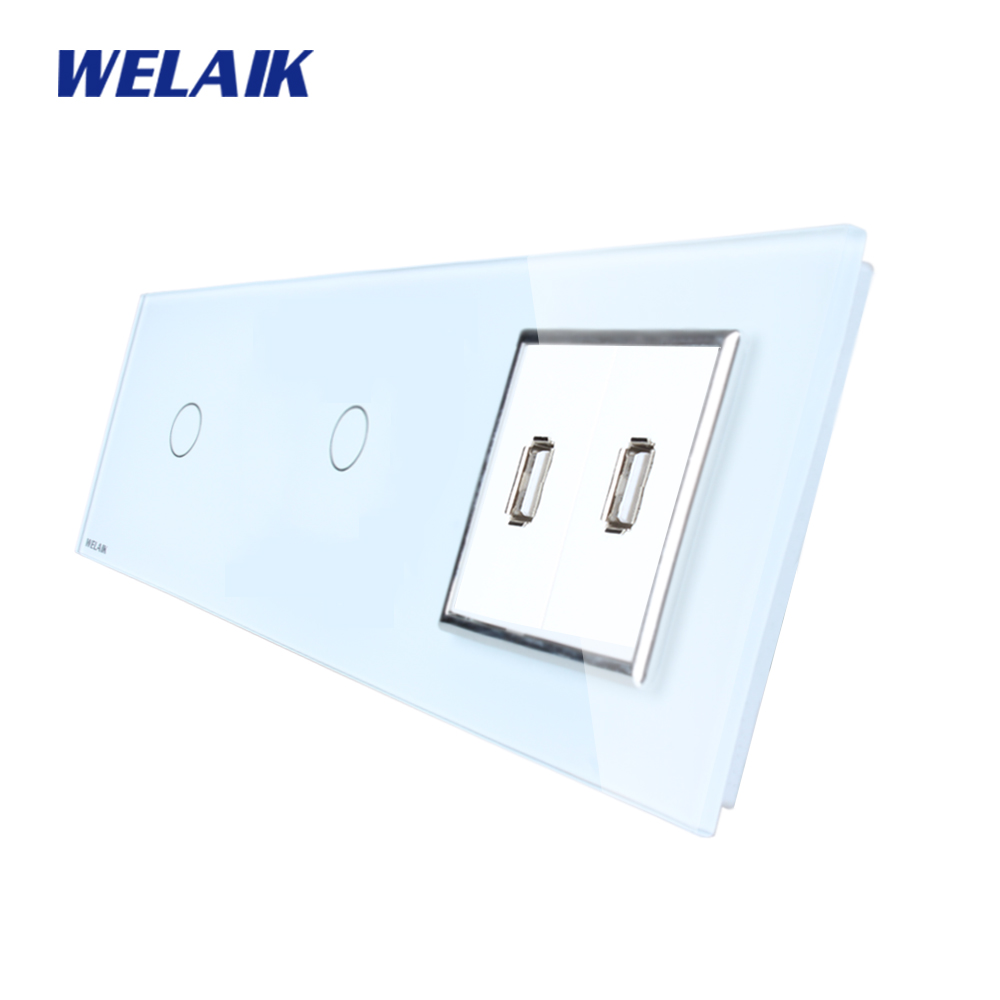WELAIK Brand 3Frame 1Gang1Way USB socket Crystal Glass Panel  Wall Switch EU Touch Switch Screen AC110~250V A39111182USCW/B 2017 free shipping smart wall switch crystal glass panel switch us 2 gang remote control touch switch wall light switch for led