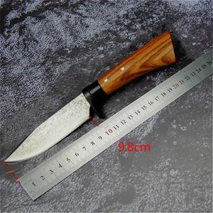 Image 5 - יפן יד מזויף ציד ישר סכין 59 60hrc דמשק תבואה חיצוני קמפינג חד טקטי סכין + גלם עץ נדן