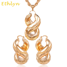 Ethlyn Big hoop earrings sets Rose Gold Copper Cross Number Eight earrings pendant  Nigerian design wedding accessories S032
