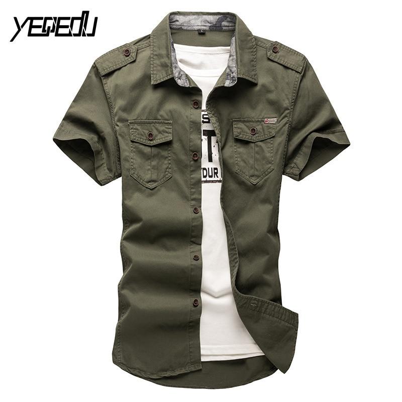 #4704 Men Shirt Short Sleeve Fashion Cottton Summer 2018 Military Mens Shirts Khaki/army Green Chemise Homme Mens Clothing L-5xl