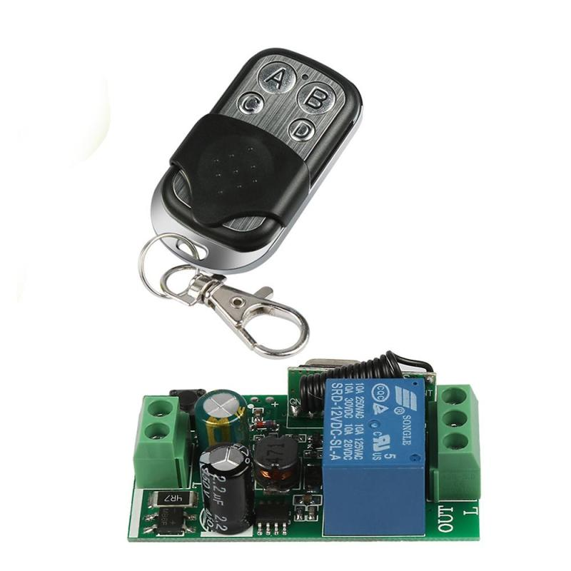 AC 220V 433MHz RF 4CH Transmitter Remote Control Switch + DC 12V 1CH Relay Receiver Learning Button Smart Light Receiver Switch 2017 new digital remote control switch 220v wifi light schakelaar 4 way 110v 250v ac input 10a rf 433 92 mhz controler